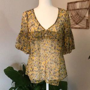 LOFT sheer floral 3/4 sleeve with ruffle blouse